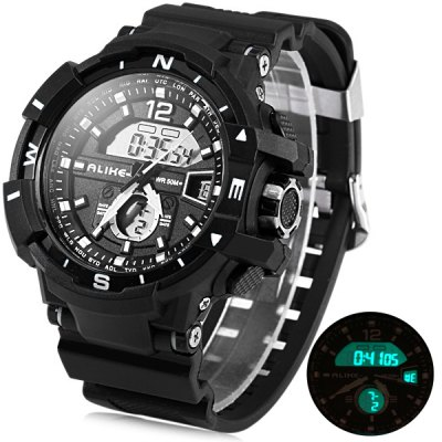 Фотография Alike AK14109 Water Resistant LED Digital Sport Watch with Double Movt Rubber Band Big Dial