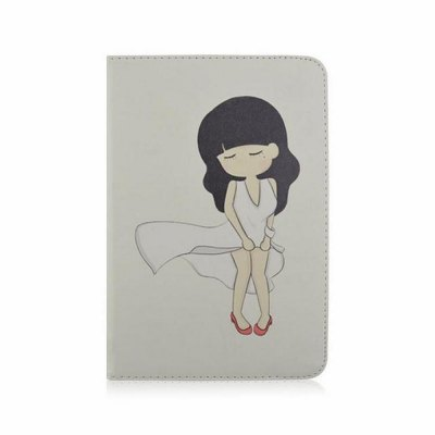 Stand Design Girl Pattern Cover Case of PU and PC Material for iPad 3