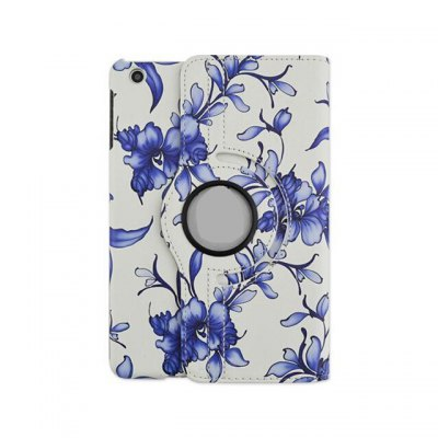 Фотография Rotatable Stand Design Flower Pattern Cover Case of PU and PC Material for iPad mini