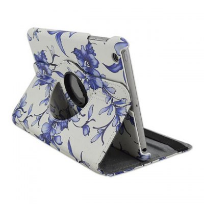 Фотография Rotatable Stand Design Flower Pattern Cover Case of PU and PC Material for iPad 2 3 4