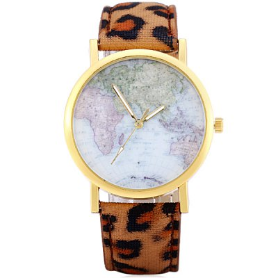 Фотография Ladies Quartz Watch Leopard Print Leather Band Map Pattern Dial