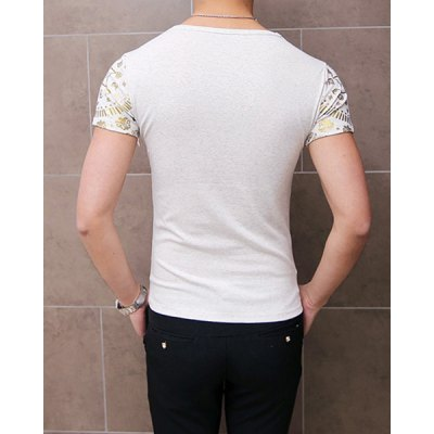Гаджет   Casual Round Neck Abstract Print Slimming Solid Color Short Sleeves Men
