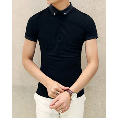 Stylish Turndown Collar Slimming Metal and Hemming Design Short Sleeve Polyester Polo T-Shirt For Men