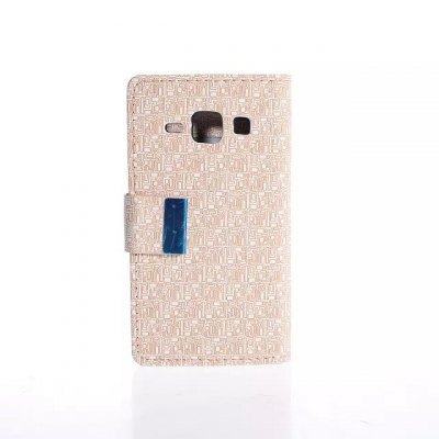 Maze Pattern PU and PC Material Card Holder Cover Case with Stand for Samsung Galaxy J1