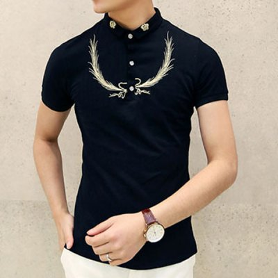 Гаджет   Stylish Turn-down Collar Embroidery Embellished Slimming Short Sleeves Men