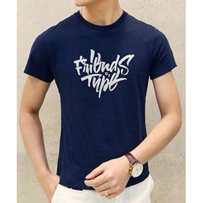 Гаджет   Simple Round Neck Letters Print Slimming Solid Color Short Sleeves Men