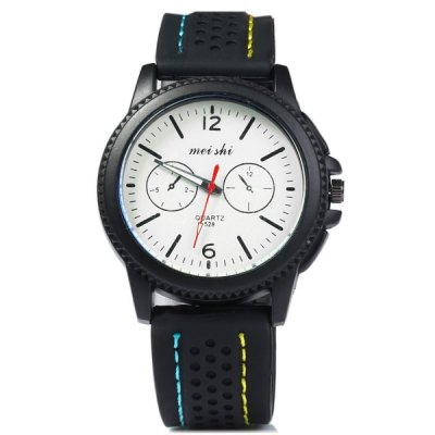 Фотография Meishi 528 Contract Color Male Quartz Watch Non - functioning Sub - dials Rubber Strap
