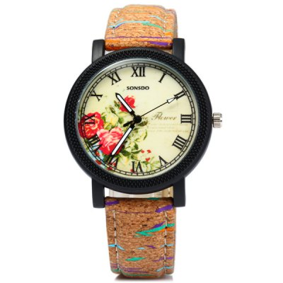 Фотография Sonsdo 6838 Unique Leather Strap Women Retro Quartz Watch