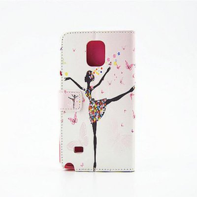 ФОТО Stand Design Ballet Girl Pattern Cover Case of PU and PC Material for Samsung Galaxy Note 4 N9100