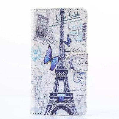 ФОТО Stand Design Phone Cover Case of Butterfly and Eiffel Tower Pattern PU and PC Material for Samung Galaxy A5 A5000