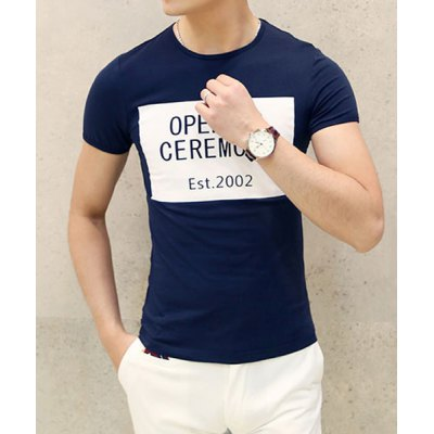 Гаджет   Casual Round Neck Concise Letters Print Slimming Short Sleeves Men