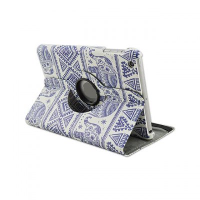 Фотография 360 Degrees Rotation Blue and White Porcelain Design Pad Cover PU Case Skin with Stand Function for iPad 5
