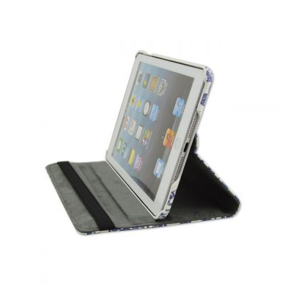 Фотография 360 Degrees Rotation Blue and White Porcelain Design Pad Cover PU Case Skin with Stand Function for iPad 2 / 3 / 4