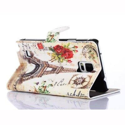 Фотография Stand Design Phone Cover Case of Sunset Pattern PU and PC Material for Samsung Galaxy Note 4 N9100