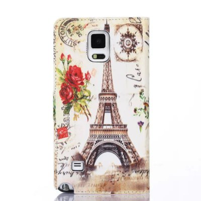 Stand Design Phone Cover Case of Sunset Pattern PU and PC Material for Samsung Galaxy Note 4 N9100