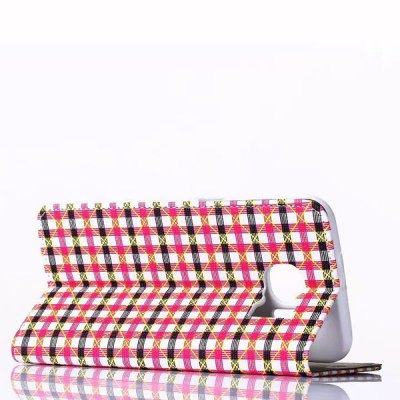 Фотография Stand Design Phone Cover Case of Small Plaid Pattern PU and PC Material for Samsung Galaxy S6 G9200