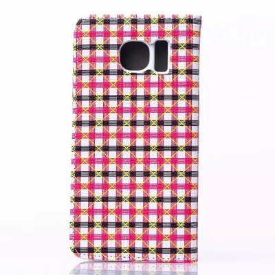 Stand Design Phone Cover Case of Small Plaid Pattern PU and PC Material for Samsung Galaxy S6 G9200