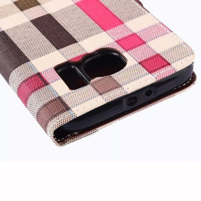 Фотография Stand Design Phone Cover Case of Irregular Plaid Pattern PU and PC Material for Samsung Galaxy S6 G9200