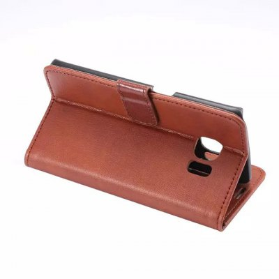 Фотография Crazy Horse Pattern PU and PC Material Card Holder Cover Case with Stand for Samsung Galaxy S6 Edge