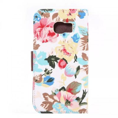 Фотография Floral Cloth Pattern PU and PC Material Card Holder Cover Case with Stand for Samsung Galaxy S6 Edge