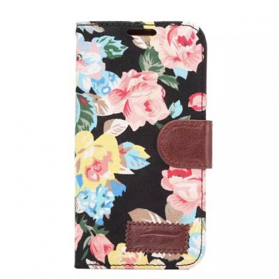 Floral Cloth Pattern PU and PC Material Card Holder Cover Case with Stand for Samsung Galaxy S6 Edge