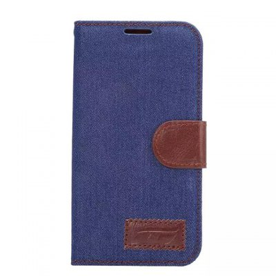 Denim Style PU and PC Material Card Holder Cover Case with Stand for Samsung Galaxy S6 Edge