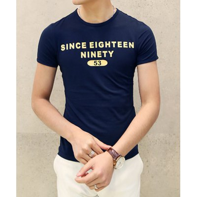 Гаджет   Slimming Letters Print Round Neck Solid Color Simple Design Short Sleeves Men