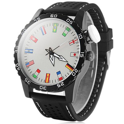 Big Dial Quartz Watch with Flag Scale Rubber Strap for Men