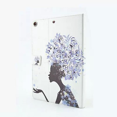 ФОТО Flower Girl Pattern Inlaid Diamond Design Pad Cover PU Case Skin with Stand Function for iPad Air / 5