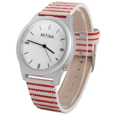 Mitina 139 Leather + Cloth Strap Female Quartz Watch with Japan Movt