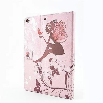 ФОТО Butterfly Wings Girl Pattern Inlaid Diamond Design Pad Cover PU Case Skin with Stand Function for iPad Air / 5