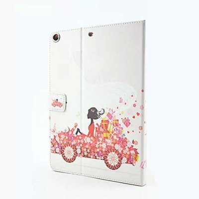 Гаджет   Flower Girl Driving Pattern Inlaid Diamond Design Pad Cover PU Case Skin with Stand Function for iPad Air / 5 iPad Cases/Covers