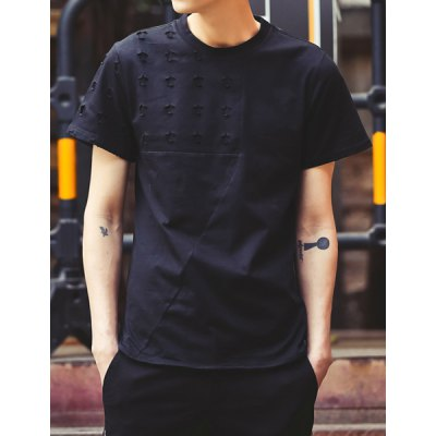 Гаджет   Western Style Round Neck Hollow Out Slimming Solid Color Short Sleeves Men