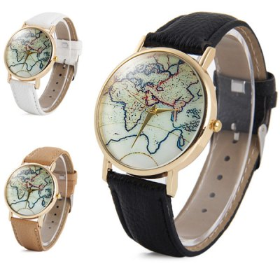 ФОТО Unisex Quartz Watch with Map Pattern Leather Band
