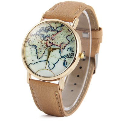 Фотография Unisex Quartz Watch with Map Pattern Leather Band