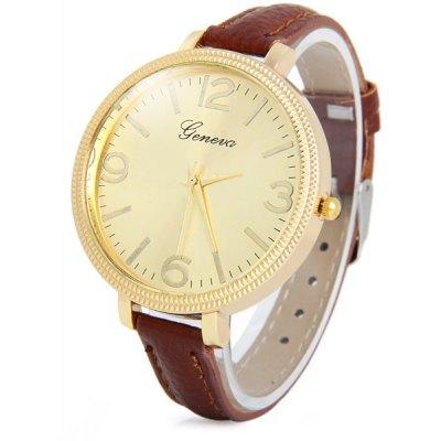 Geneva Narrow Leather Band Female Quartz Watch