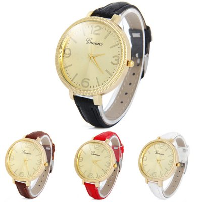 Geneva Lady Quartz Watch with Narrow Leather Band Big Dial