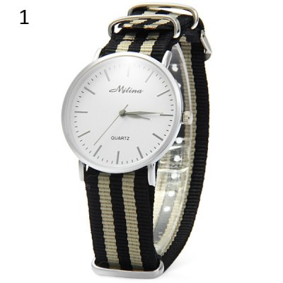 ФОТО Mitina 242 Unisex Quartz Watch with Stripes Canvas Band Round Dial