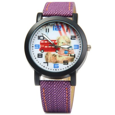 Фотография Female Teddy Bear Quartz Watch with Leather + Jeans Cloth Strap
