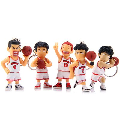 Key Rings with 8cm Cartoon Model Slam Dunk Characteristic Action Figurine Toy  -  5Pcs