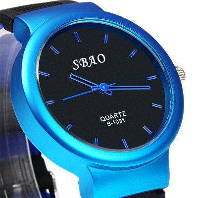 Фотография Sbao S - 1091 Soft Rubber Band Sports Quartz Watch with Stripe Time Scale