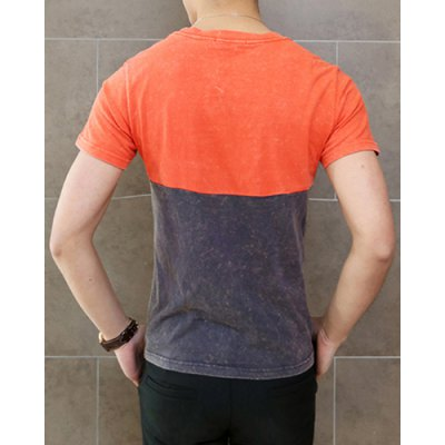 Гаджет   Casual Round Neck Letters Print Slimming Color Splicing Short Sleeves Men