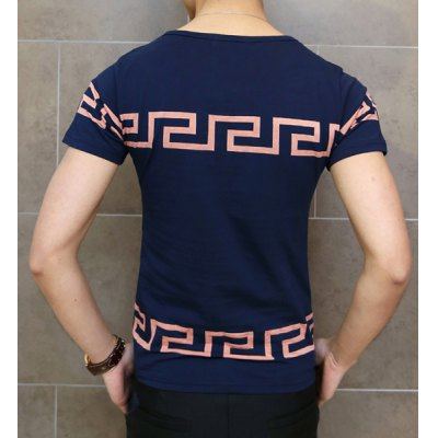 Фотография Laconic Geometric Print Round Neck Slimming Solid Color Short Sleeves Men