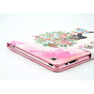 Фотография Flower Girl Pattern Inlaid Diamond Design Pad Cover PU Case Skin with Stand Function for iPad 2 / 3 / 4