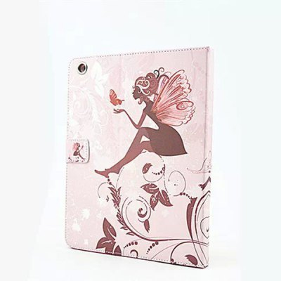ФОТО Butterfly Wings Girl Pattern Inlaid Diamond Design Pad Cover PU Case Skin with Stand Function for iPad 2 / 3 / 4
