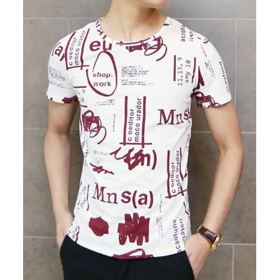 Casual Funny Handwritten Print Round Neck Slimming Short Sleeves Men
