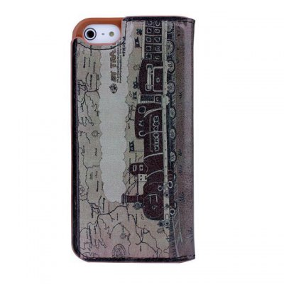Фотография Steam Train Design Phone Cover PU Case Skin with Stand Function for iPhone 5S / 5