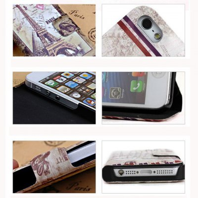 Retro Scenery Design Phone Cover PU Case Skin with Stand Function for iPhone 5S / 5
