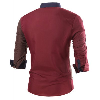Фотография Novel Turn-down Collar Personality Color Block Splicing Slimming Long Sleeves Men