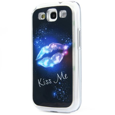 Фотография PC Material Lip Pattern LED Incoming Call Shining Back Cover Case for Samsung Galaxy S3 i9300